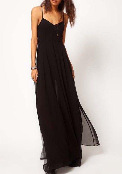 Black Double-deck V-neck Sleeveless Loose Chiffon Dress