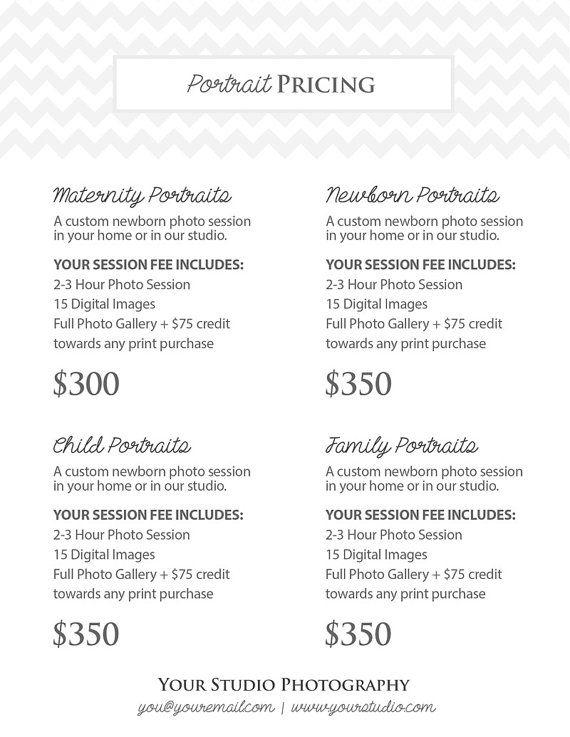 photography portrait pricing photographer price list marketing photoshop template. Black Bedroom Furniture Sets. Home Design Ideas
