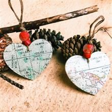Map Heart Ornaments (set of 2)