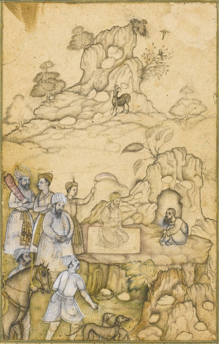 A prince visiting a dervish in the wilderness, identified as the King of Yemen visiting Shaykh Sanan, attributable to 'Abd al-Samad and Nar Singh, Mughal, circa 1585-90