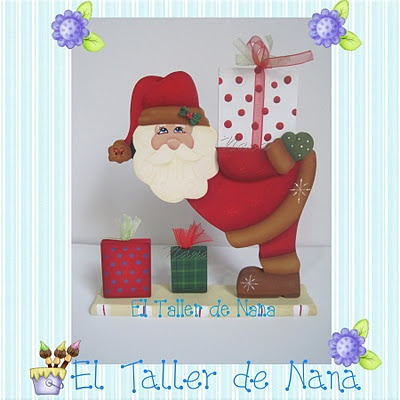 Aplique decorativo de Papá Noel Portaregalos