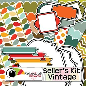 Seller's Kit Vintage has a gorgeous color theme with plenty of vintage items for sellers to create awesome product covers. Place a vintage frame over a stunning patterned background and add your title over a label or banner. Seller's Kit Vintage by RebeccaB Designs.This product contains:- 20 U.S.