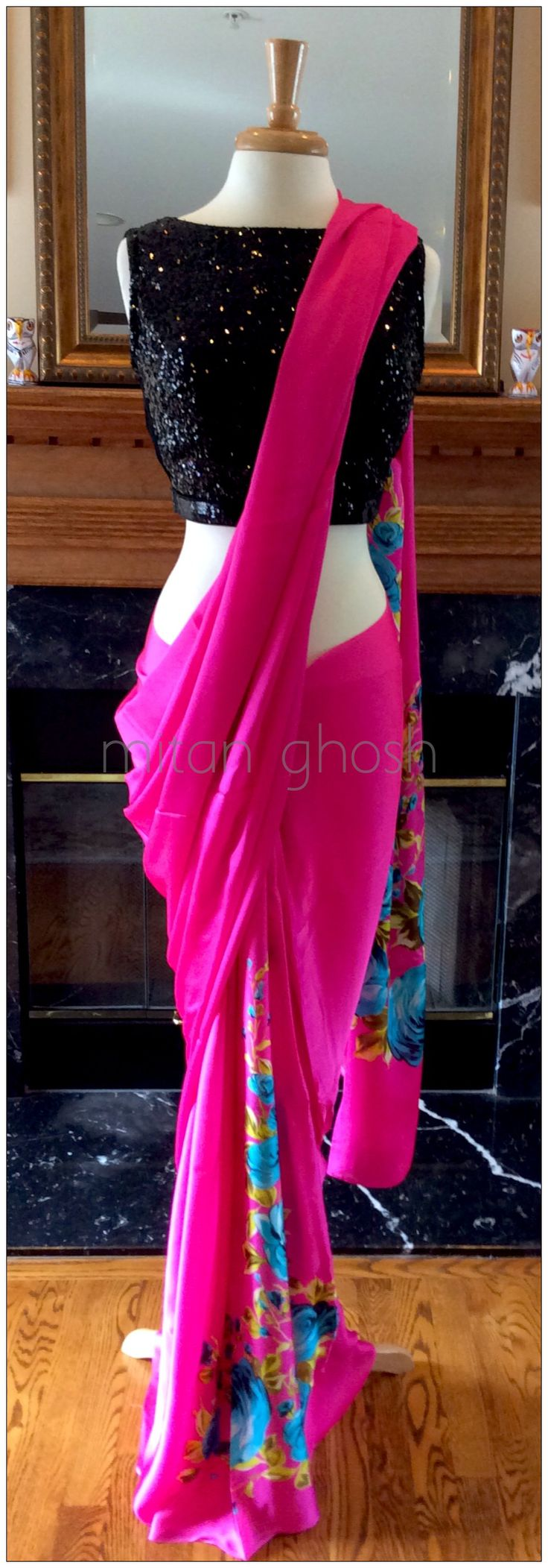 Rose printed satin georgette saree.