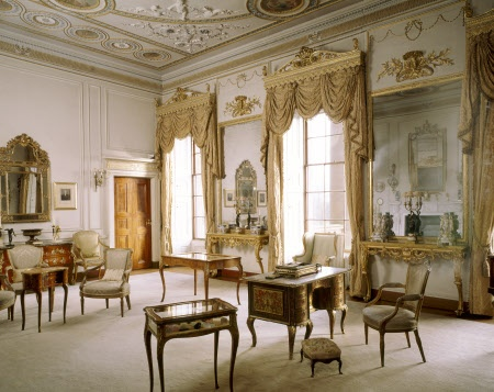 The Drawing Room at Berrington Hall, Herefordshire, England. Among the furniture on display is a Regence mazarin, 18th century kidney table and several cabinets containing objects d'art