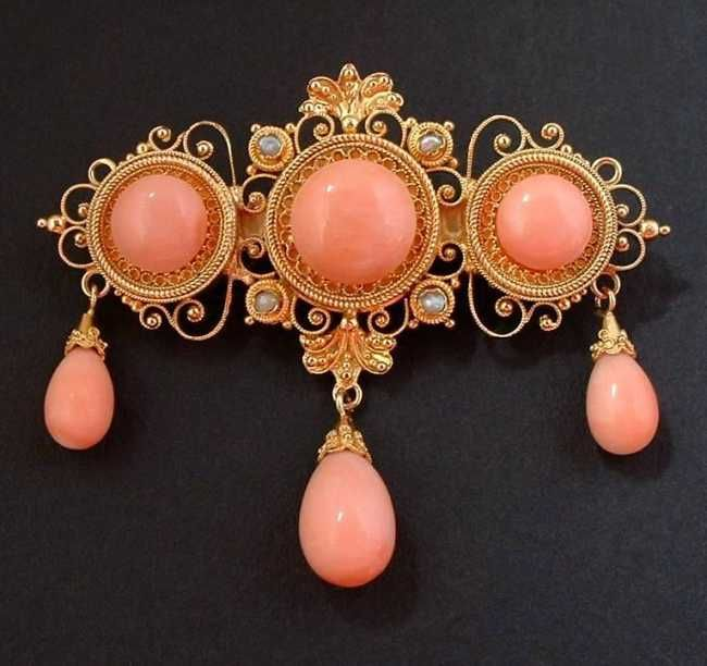 Antique coral brooch