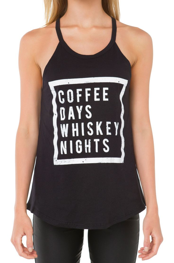 Graphic Coffee Whiskey Top in Black   AKIRA