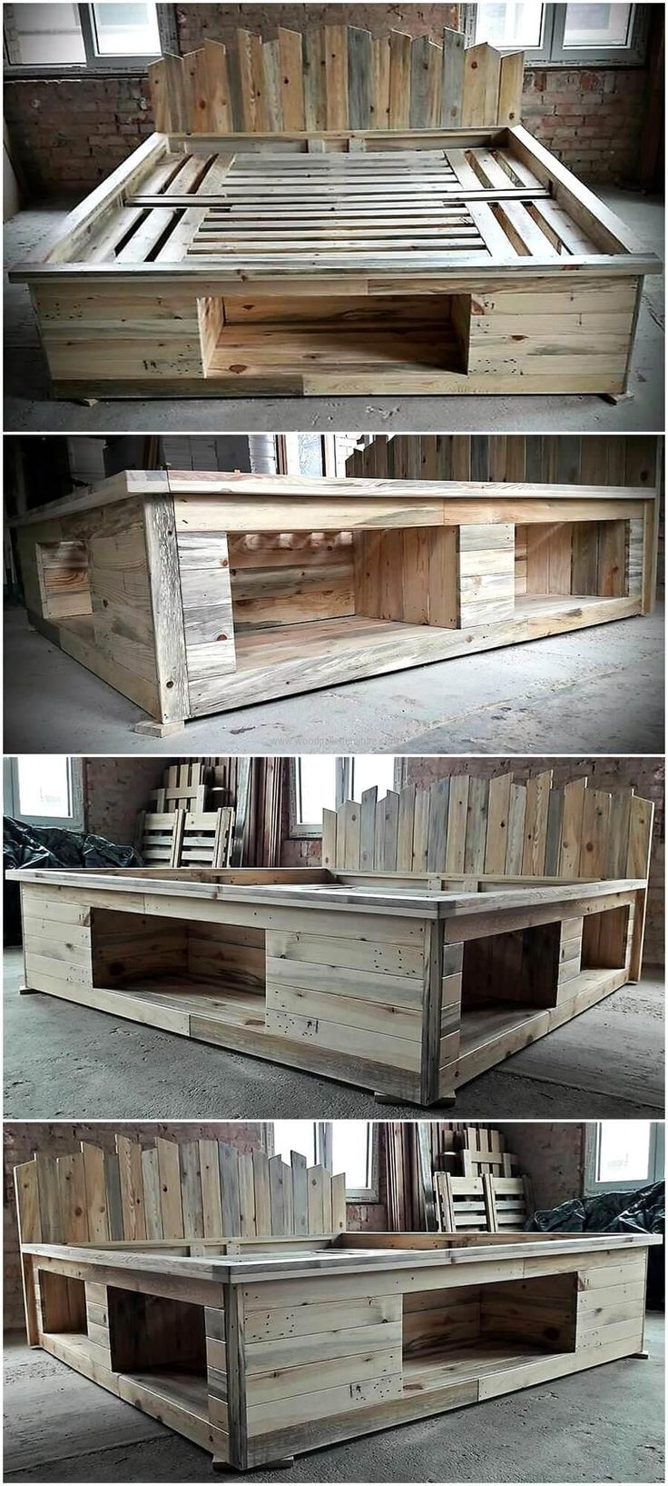 Wooden bed frame ideas - Repurposed Pallets Bed Frame With Storage Option