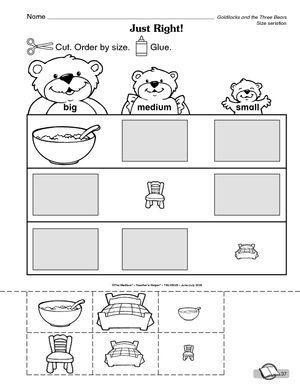 Boucle d'or et les trois ours. Activité association taille pour maternelle. En anglais