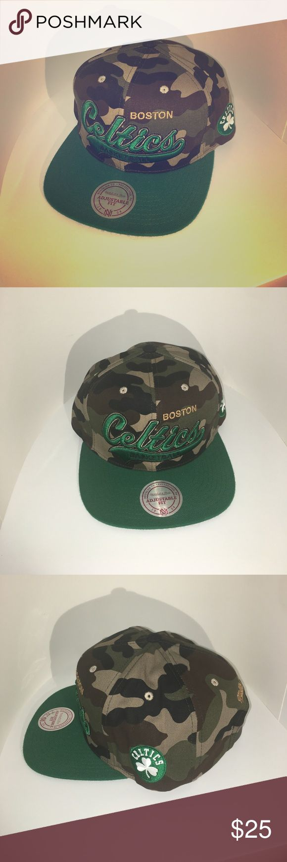 Mitchell and Ness Boston Celtics StrapBack Hat Mitchell and Ness NBA Boston Celtics leather strapback hat. Camouflage featuring green Celtics text on front and Celtics logo patch on side. Mitchell & Ness Accessories Hats