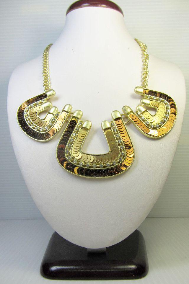 u shape sequince design creative necklace qt 129