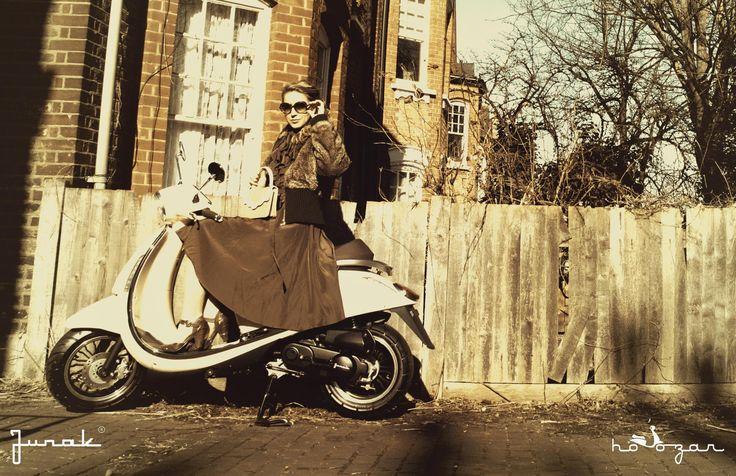 Junak Vintage Scooter in London  retro skuter, vintage dress original from Dana in Szczecin, 80-ties, vintage coat from Rokit in Brick Lane   photoshoot in Balham www.hoozar.co.uk