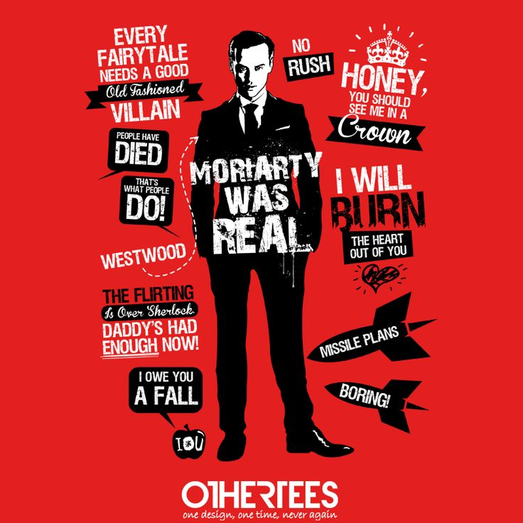 Good Old Fashioned Villain Quotes by Tom Trager Shirt on sale until 02 May on http://othertees.com #sherlock #moriarty