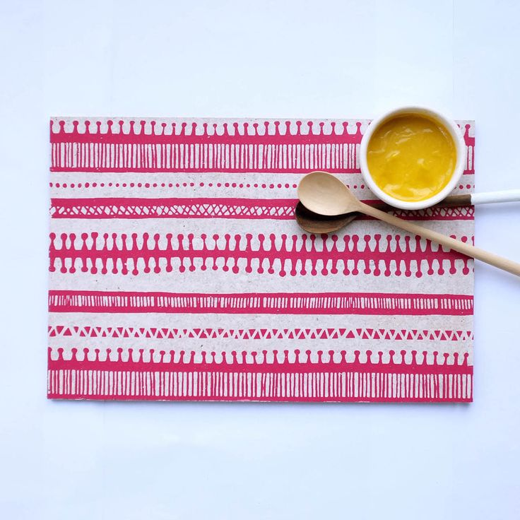 Cork Placemat 'Trail' in pink. Available at http://courtneyclaire.bigcartel.com/