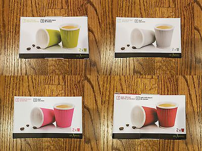 Les Artistes Paris 3oz Espresso Cups w/Silicone Heat Protection Cover Set of 2