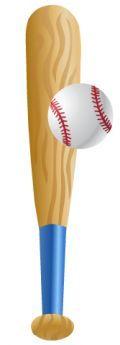 Baseball bat clip art: bat and ball vertical