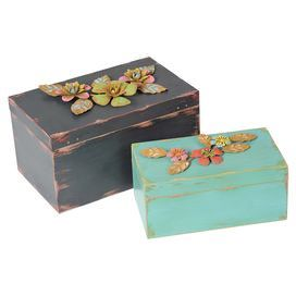 "Two weathered boxes with rosette accents.   Product: Small and large boxConstruction Material: Wood and metalColor: MultiDimensions: 6.5"" H x 11"" W x 6.5"" D (large)"