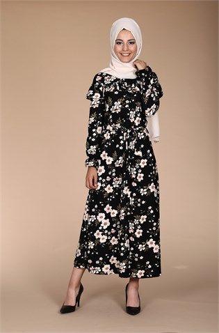 Çiçekli Düğmeli Fırfır Elbise 0626 - Siyah