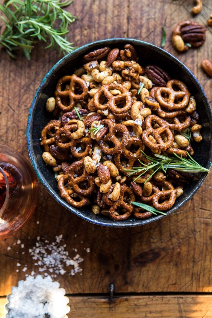 Sweet 'n' Savory Roasted Nuts and Pretzels: spicy, hinted with rosemary, slightly sweet + extra salty...how all snack mix needs to be! @halfbakedharvest.com