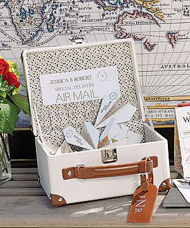 Mini Suitcase Wishing Well {#wedding, wishing well, wedding guests, wedding reception, theme wedding, #destination wedding, airplanes, travel theme, vintage, retro, fun, playful}