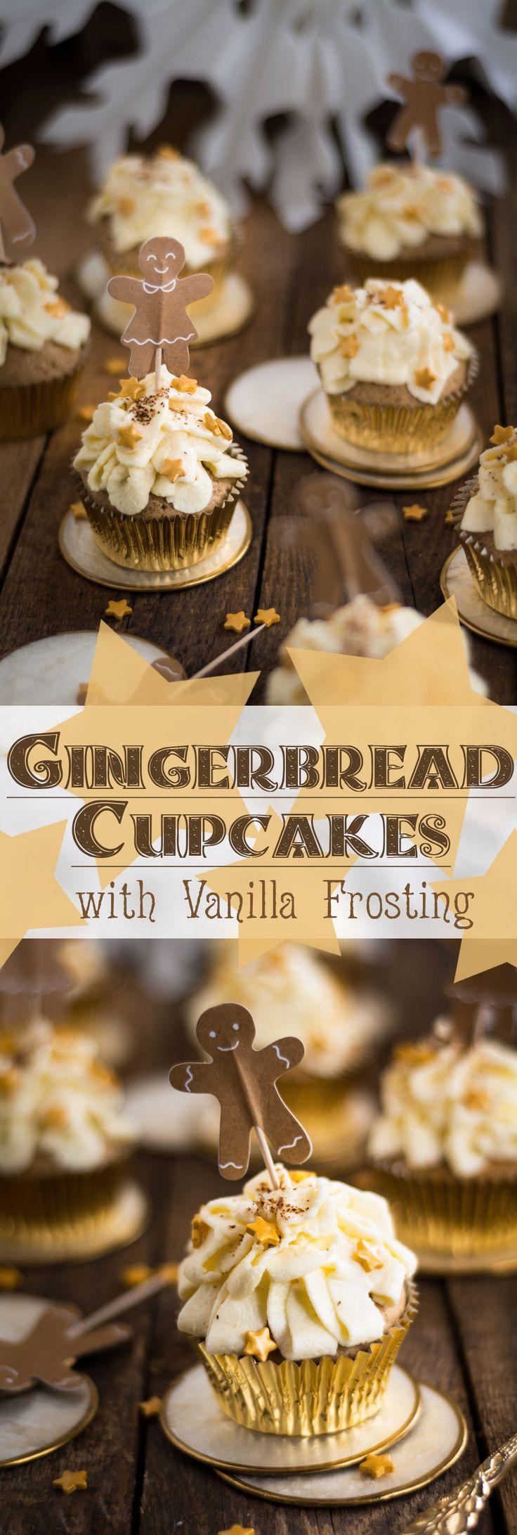Weihnachtliche Lebkuchen Cupcakes mit Vanille Topping