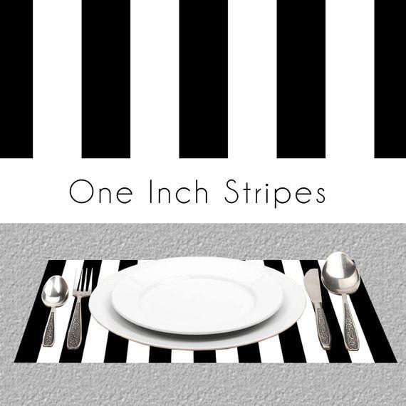 Black White Stripes Paper Placemats BW By PineAndBerryShop