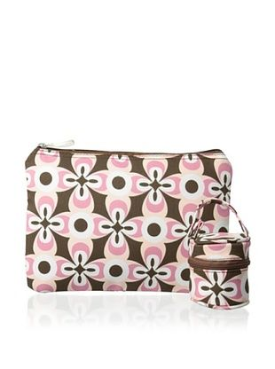 53% OFF The Bumble Collection Pacificer Pod & Zipper Bag, Pink Geo Print