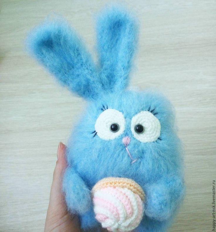 Купить Зайка - голубой, зайка, заяц, кролик, вязаная игрушка, амигуруми, милый подарок, пряжа