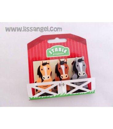 Colecciona nuestras divertidas #gomas de borrar de #animales . Con este pack de tres cuqui gomas de borrar con forma de #caballos o #ponys te lo pasarás en grande. #goma #caballo #pony #papeleria