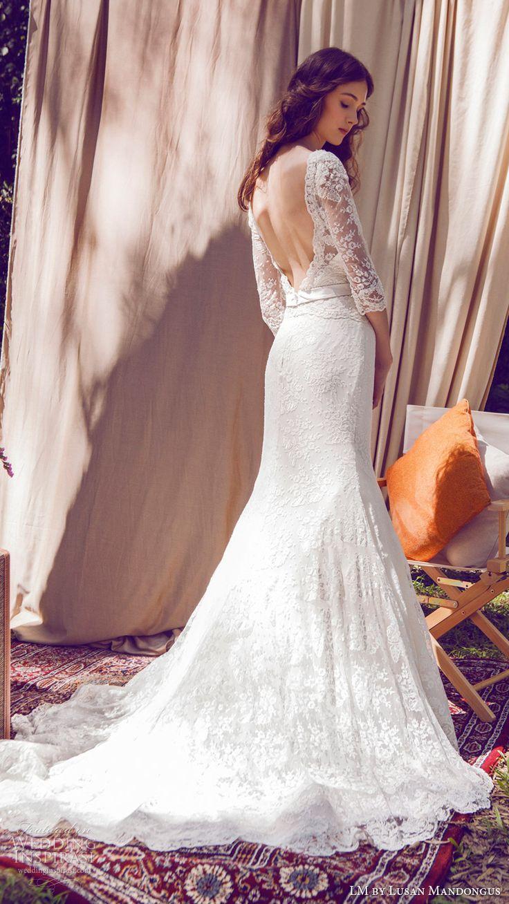 lm lusan mandongus bridal 2017 illusion bateau neck 3 quarter sleees lace…