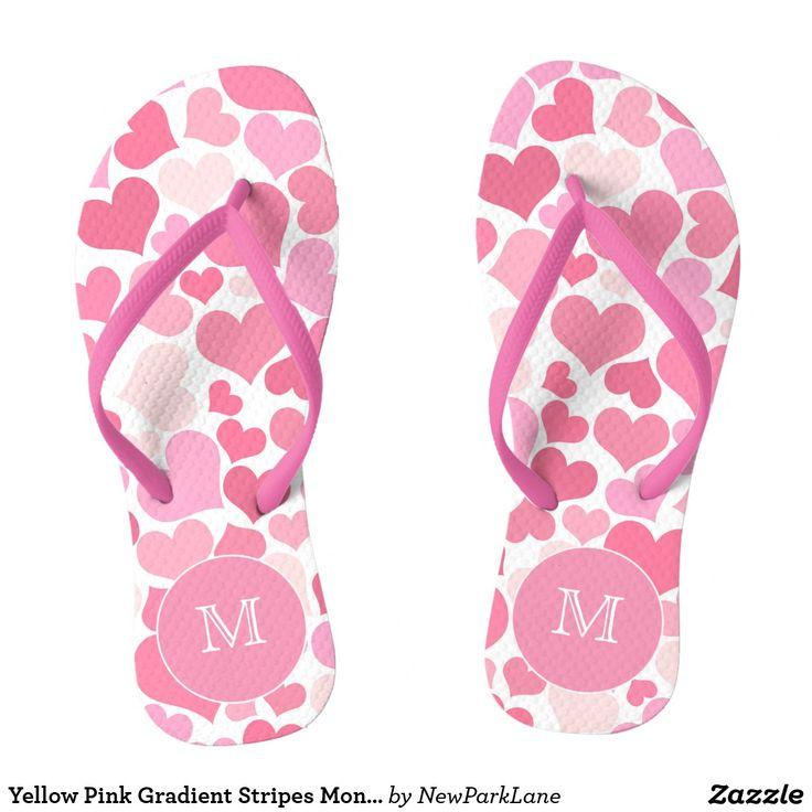 Yellow Pink Gradient Stripes Monogram Flip Flops  #pink #flipflops #summer #hearts #pattern #destinationwedding #romantic #beachwear #summer #holiday #honeymoon