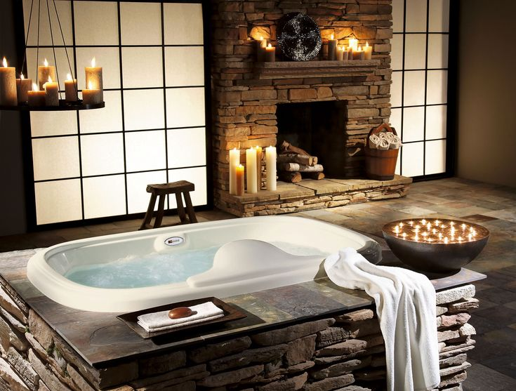 Love the tub with all the stones.Bathroom Design, Luxury Bathroom, Fireplaces, Bathroomideas, Rustic Bathroom, Dreams Bathroom, Bathroomdesign, Bathroom Ideas, Spa
