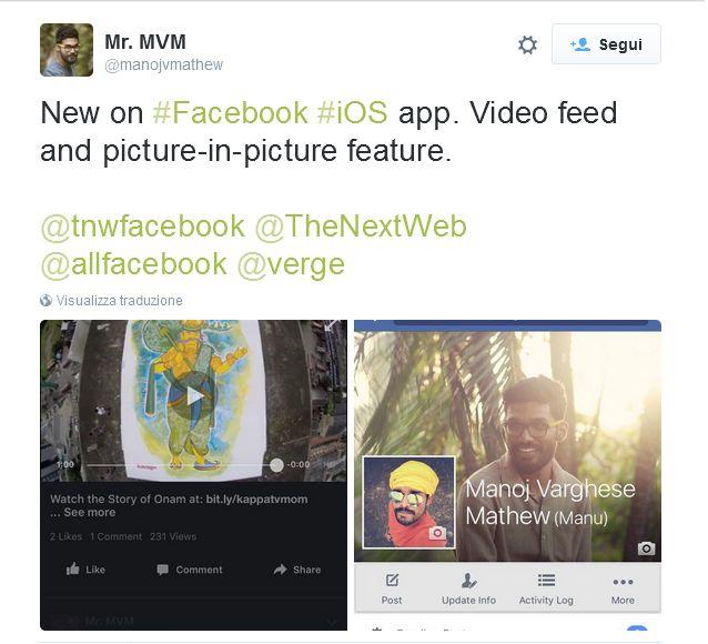 """Sarà possibile """"spostare"""" i video su un lato del news feed di Facebook, così da poter continuare a leggere ed interagire con gli altri durante la visione."""