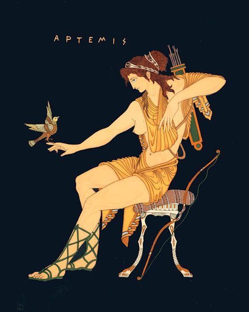 Artemis: She was the Greek goddess of the hunt, wild animals and the wilderness. The deer and the cypress were sacred to her. (Artwork by Troy Caperton)