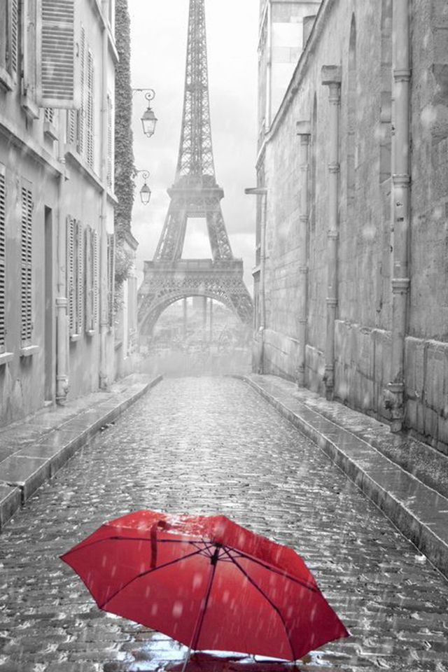 Red Umbrella Paris Street Rainy Day Eiffel Tower  #iPhone #4s #wallpaper