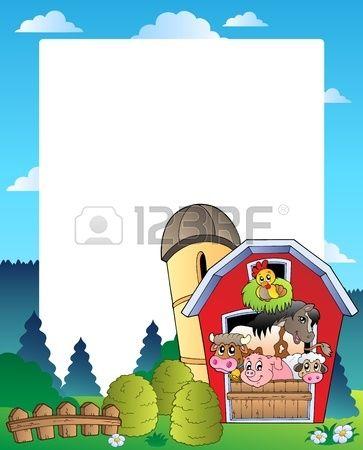 Marco de pa s con granero rojo 3 ilustraci n vectorial  Foto de archivo
