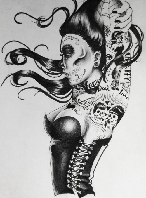 Dead, sexy, pin up girl !  zombie + pin up = <3