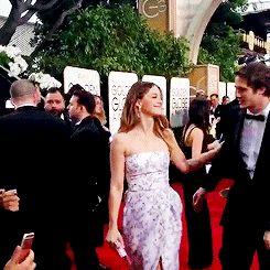 Melissa Benoist and Blake Jenner at Golden Globes