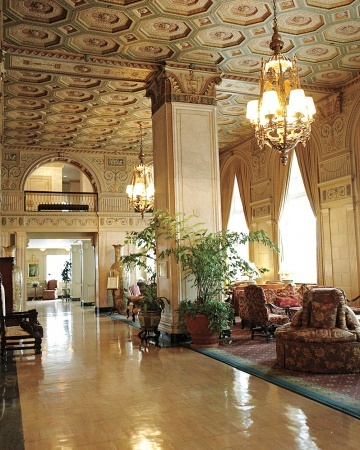 The Brown Hotel in Louisville, KY. Absolutely beautiful old hotel that has been kept in perfect repair. So regal. This is where the rich stay when they come for the Kentucky Derby.