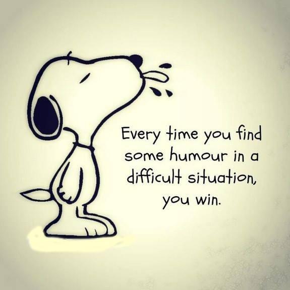 Cada vez que encuentras en una situación difícil un poco de humor, tú ganas.