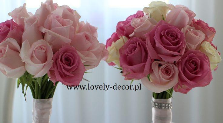 Bukiet ślubny - różowe róże #wedding #flowers #bukiet #ślub