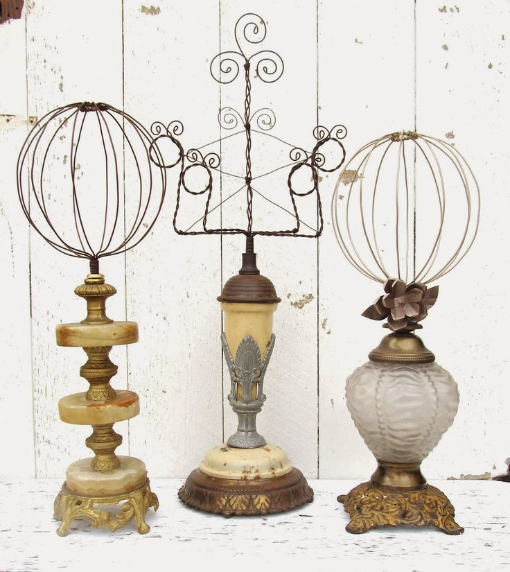 Wire on vintage lamp base hatstands and photo frame holder
