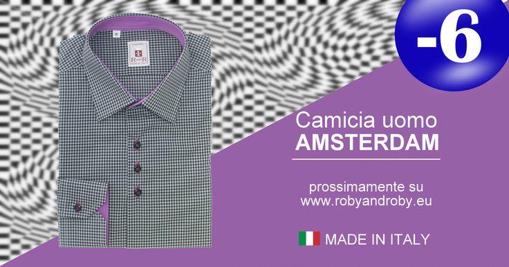Camicia uomo AMSTERDAM prossimamente su www.robyandroby.eu  -6 giorni all'apertura!