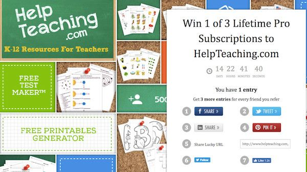 ENTER TO WIN one of three Lifetime PRO Subscriptions to HelpTeaching.com.