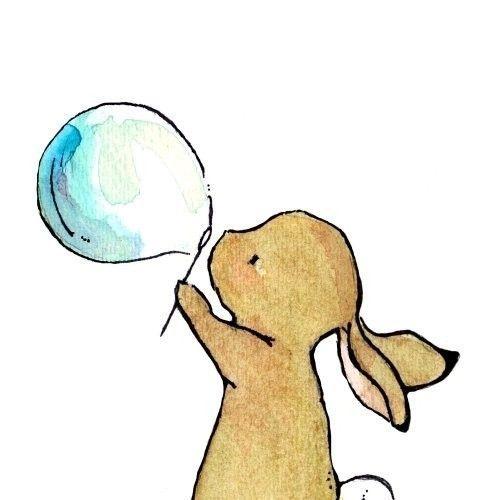 Nursery Art -- Bunny Bubbles 8x10 -- Art Print. $20.00, via Etsy.