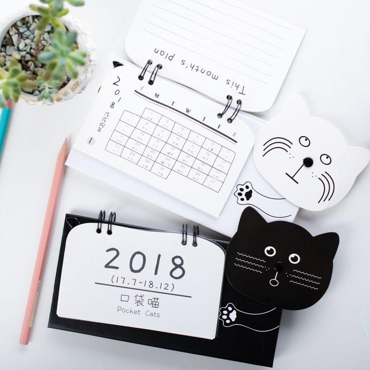 黒と白猫デスクカレンダープランナー2018カレンダー議題プランナーオーガナイザーノートブックcalendario毎日テーブルプランナー2017.7〜2018.12