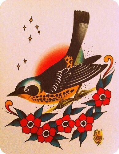 Traditional style bird tattoo