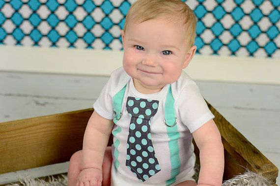 Baby Boy, Mint Green and Grey Boy Tie Onesie with Suspenders - Pick your own