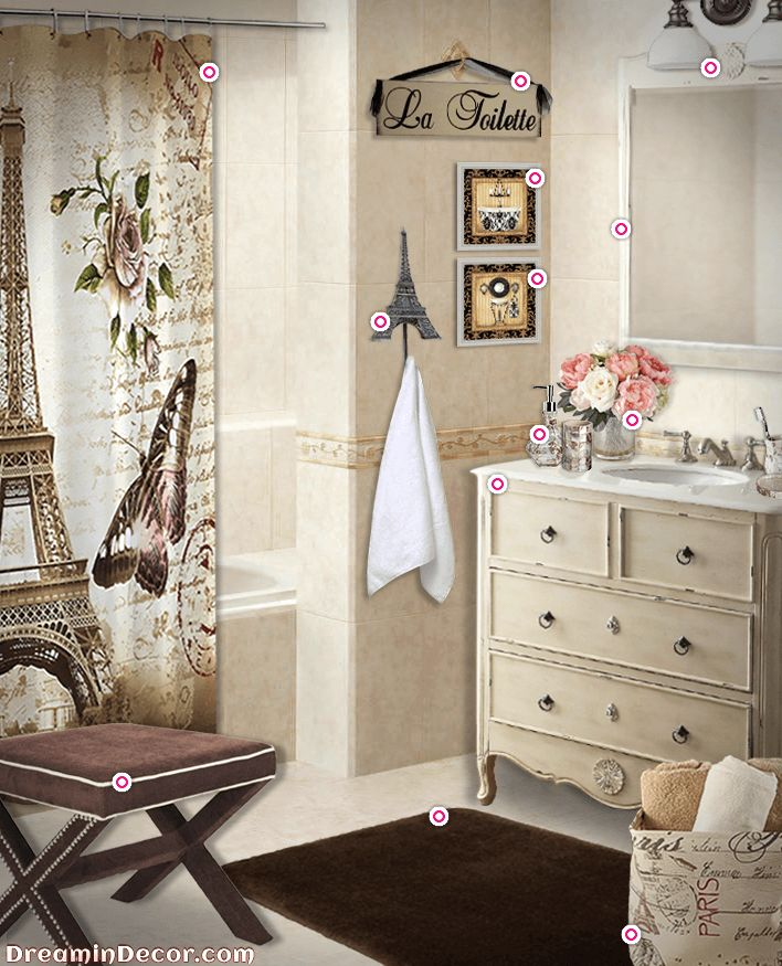 paris themed bathroom. A rustic bathroom with taupe walls and vanity  dark brown rug butterfly shower curtain Paris Bathroom DecorParis Themed Best 25 decor ideas on Pinterest Small bamboo