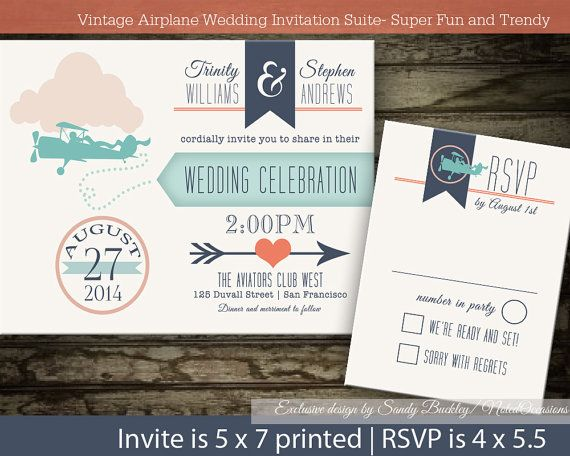 Vintage Plane Wedding Invitations Digital by NotedOccasions. Vintage Airplane and banner wedding invitations and rsvp card. The trendy love is in the air plane wedding invitation is 5x7 and has a banner announcing your wedding with super trendy typography and a super fun vintage plane with a pilot inviting your guests to the big day-with the names of the bride and groom across the top.