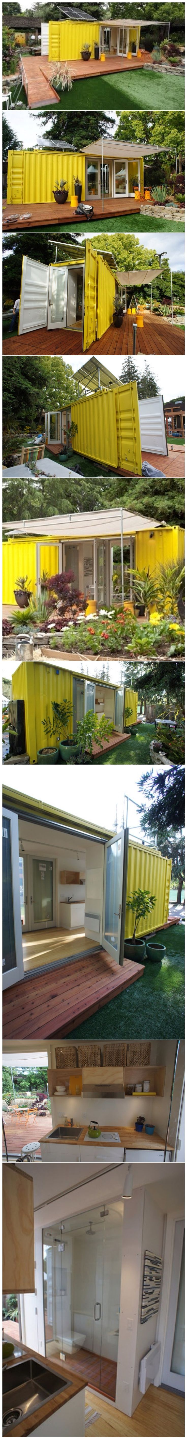 "via www.cargotecture.com This little shipping container house called ""The Nomad"" was designed for Sunset Magazine by Seattle-Based HyBrid Architecture. The home's shell is a used 24 foot shipping container that provides 192 sq. ft. of interior living space and can sleep four people. The house has a galley kitchen, a bathroom and several exterior openings."
